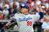 CLEVELAND, OHIO - JULY 09: Hyun-Jin Ryu #99 of the Los Angeles Dodgers and the National League pitches during the 2019 MLB All-Star Game, presented by Mastercard at Progressive Field on July 09, 2019 in Cleveland, Ohio.   Gregory Shamus/Getty Images/AFP == FOR NEWSPAPERS, INTERNET, TELCOS & TELEVISION USE ONLY ==