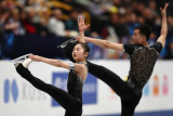 SAITAMA, JAPAN - MARCH 20, 2018: Figure skaters Kim Ju Sik and Ryom Tae Ok of North Korea perform during the pairs\' short programme event at the 2019 ISU World Figure Skating Championships at Saitama Super Arena. Stanislav Krasilnikov/TASS