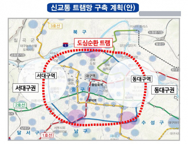 대구시의 신교통 트램망 구축계획안