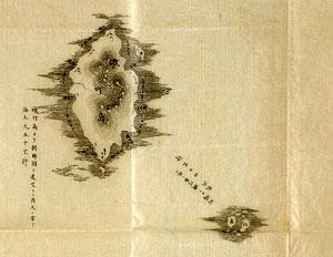 일본 태령관 지령의 부속지도 '기죽도약도'(1877년)에 나타난 기죽도(울릉도, 자료상 큰 섬)와 송도(독도, 작은 섬).