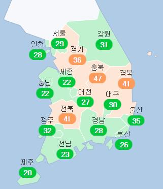 15일 오전 11시 기준 전국 초미세먼지 농도. 에어코리아