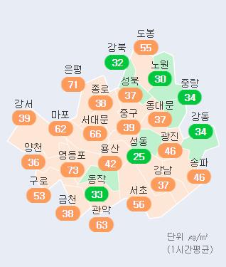 15일 오후 1시 서울 각 구 초미세먼지 농도 현황. 에어코리아