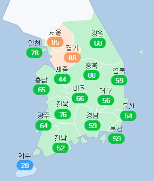 15일 오후 2시 기준 전국 미세먼지 농도. 에어코리아