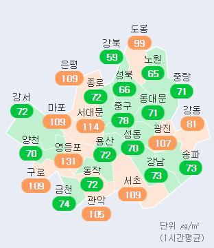 서울 15일 오후 2시 기준 각 구 미세먼지 농도 현황. 에어코리아