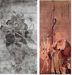 국립중앙박물관이 소장하고 있는 세화. 벽사의 의미로 자주 그려진 '종규'(작자 미상, 왼쪽)와 복을 바라는 송축의 의미로 자주 그려진 '신선도 수성'(김홍도, 오른쪽)