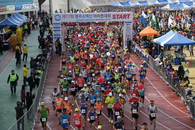 지난해 열린 소백산마라톤대회 참가자들이 출발 신호에 맞춰 힘차게 달려 나가고 있다. 매일신문 DB