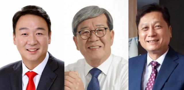 정희용 미래통합당 후보, 장세호 더불어민주당 후보, 김현기 무소속 후보