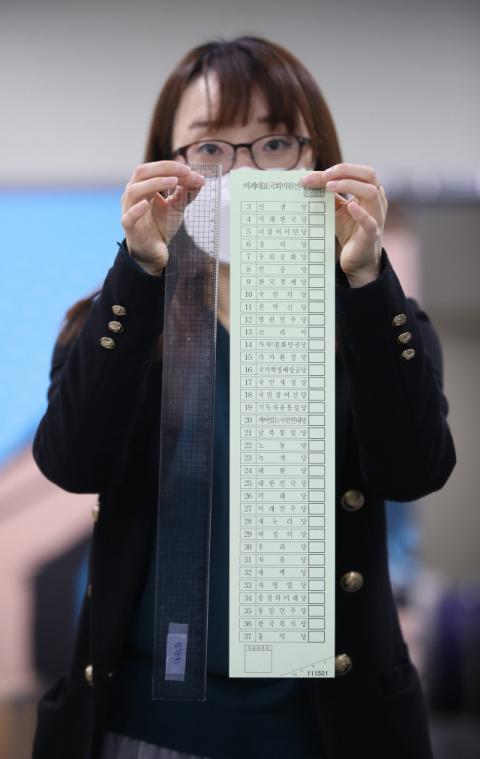 31일 오후 대구시 달서구의 한 인쇄업소에서 인쇄된 4·15 총선 비례대표 투표용지가 48.1cm의 길이를 보이고 있다. 연합뉴스