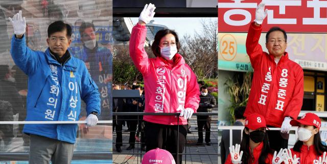 4·15 총선 공식 선거운동이 2일부터 13일간의 열전에 돌입했다. 대구 수성을에 출마한 더불어민주당 이상식(왼쪽부터) 후보, 미래통합당 이인선 후보, 무소속 홍준표 후보가 두산오거리에서 출근길 운전자들을 향해 한 표를 호소하고 있다. 김영진 기자 kyjmaeil@imaeil.com