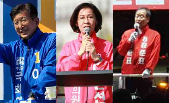 (왼쪽부터) 이상식, 이인선, 홍준표 후보.