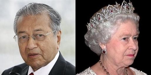 마하티르 빈 모하맛 말레이시아 전 총리, 영국 여왕 엘리자베스 2세. 연합뉴스, 매일신문DB