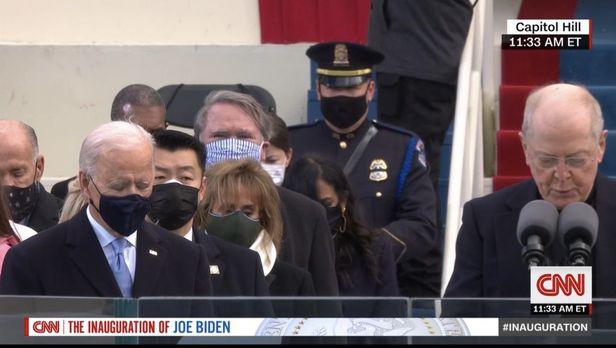 20일 열린 조 바이든 대통령 취임식에서 경호 작전을 수행하고 있는 데이비드 조(왼쪽에서 첫번째)의 모습. CNN 방송 화면 갈무리