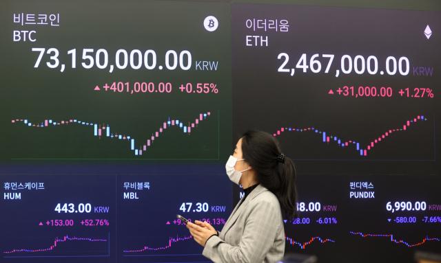암호화폐 거래소 업비트 라운지 시세 전광판. 자료사진. 연합뉴스