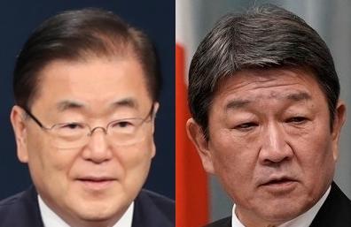 정의용, 모테기. 연합뉴스