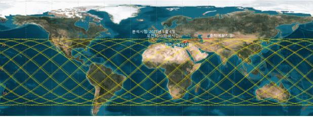 과학기술정보통신부는 지구로 추락하고 있는 중국 우주발사체 '창정-5B호'의 잔해물 추락 현황을 감시하고 있다고 6일 밝혔다. 과기정통부에 따르면 창정-5B호는 지난달 29일 중국이 발사한 우주발사체로, 우주 정거장의 모듈을 운송하는 역할을 한다. 발사체는 무게만 800t이 넘는 대형 발사체로, 추락 중인 잔해물은 이 발사체의 상단이며 무게 20t·길이 31m·직경 5m로 추정된다. 사진은 추락예측 궤도. 연합뉴스