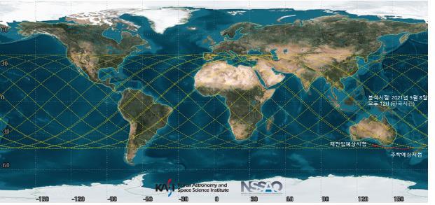 과학기술정보통신부는 중국 우주발사체 '창정-5B호'의 잔해물이 한국 시각으로 9일 오전 11시 40분께 남태평양에 추락할 것으로 보인다고 8일 밝혔다. 창정-5B호는 중국이 지난달 29일 발사한 우주발사체로, 우주 정거장 모듈을 운송하는 역할을 한다. 발사체 무게는 800t이 넘는다. 추락 중인 잔해물은 이 발사체의 상단으로 무게 20t·길이 31m·직경 5m로 추정된다. 과기정통부는 이달 5일 추락 징후를 인지한 직후 우주위험 감시기관인 한국천문연구원과 창정-5B호 잔해물의 궤도변화를 감시했다. 천문연의 궤도 분석 결과에 따르면 창정-5B호 잔해물의 이동 경로는 한반도를 지나지 않고, 이 잔해물이 다른 물체와 충돌하는 등 궤도변화가 생기지 않는 한 한반도에 추락할 가능성은 없다. 연합뉴스