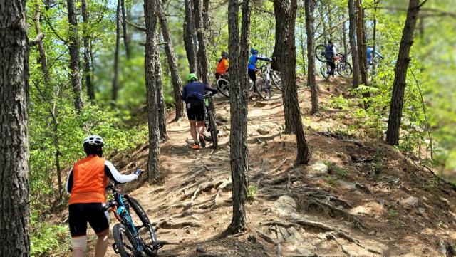 명품길 투어에 나선 일행들이 자전거를 끌고 회룡포 전망대로 향하고 있다.