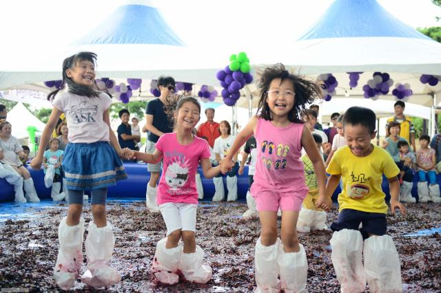 아이들이 2019년 송산포도축제 포도밟기 프로그램에 참여해 즐거운 시간을 보내고 있다. 화성시 제공