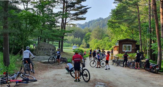 분천역을 지나 자전거는 불영계곡 따라 난 옛길을 달린다. 이번 자전거 여행의 마지막 기착지인 울진 소광리 금강송 숲길 입구에서 일정을 마무리한다.