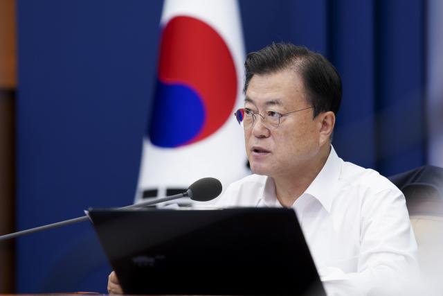 문재인 대통령이 지난 7월 26일 청와대에서 열린 수석·보좌관 회의에서 발언하고 있다. 연합뉴스