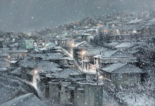 김종언 작 '밤새...목포 유달동' oil on canvas. 80.5x116.5cm