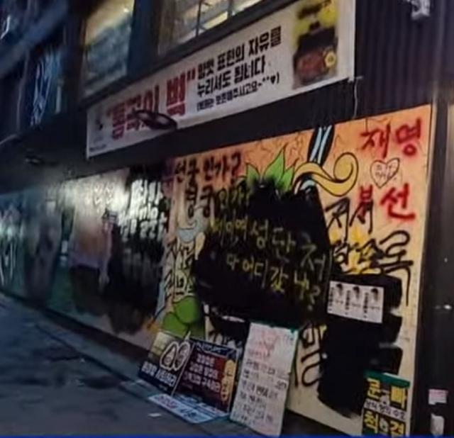 31일 서울 종로구 관철동의 한 중고서점 앞에 그려진 쥴리벽화를 한 유튜버가 검정색으로 덧칠했다. 연합뉴스