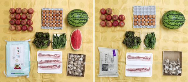 과일, 채소값 등이 치솟고 있다. 3일 오후 한 대형마트에서 10만원으로 장보기를 한 후 전년 동기와 비교해 봤다. 가격이 전년보다 각각 수박은 36%, 계란은 24% 등 뛰어서 작년과 같은 금액으로 샀을 때 전년의 70~80% 양만 살 수 있었다. 지난해 가격 기준으로는 사과 16개와 30구 달걀 한판, 수박 1통과 4분의 1통, 시금치 200g, 적상추 200g, 마늘 30쪽, 쌀 10㎏, 삼겹살 300g 등을 골고루 살 수 있었다. 올해 가격 기준으로는 사과 10개와 수박 1통, 시금치 120g, 적상추 160g, 마늘 24쪽 등으로 품목별 구매량이 줄었다. 예산에 맞추고자 달걀(18구)과 쌀(4㎏), 삼겹살(200g)도 구매량을 조절했다. TV매일신문