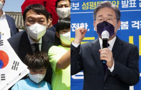 이재명 43% vs 윤석열 42%, 이재명 44% vs 홍준표 39%