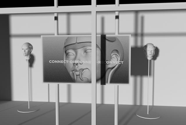 박소라 작 'Connect-Disconnect-Reconnect' 3D 프린팅 헤드기어 프로토타입, 비디오, 2021