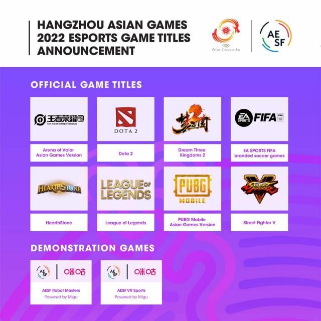 아시아e스포츠연맹이 발표한 2022년 항저우 아시안게임 e스포츠 정식 8개 종목. AESF 공식 SNS