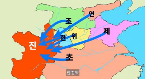 소진의 합종책. 약한 국가들이 연합해 최강국 진에 대항하자는 전략.