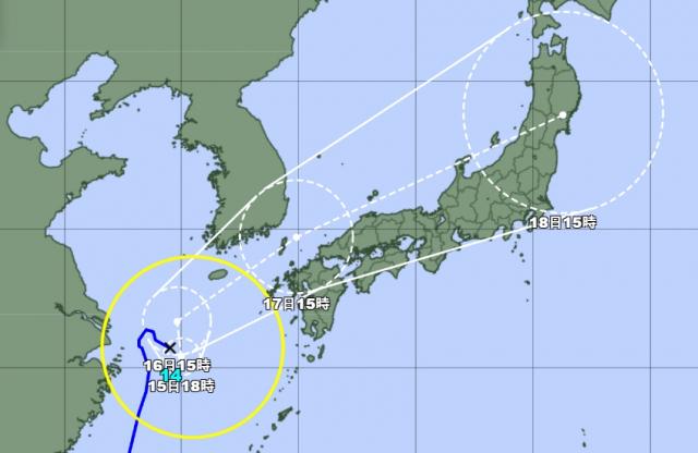 14일 오후 6시 발표 태풍 찬투 예상 경로. 일본기상청