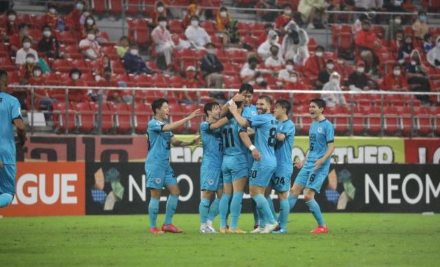 대구FC 세징야가 14일 일본 아이치현 도요타시 도요타 스타디움에서 원정 경기로 치른 2021 AFC 챔피언스리그(ACL) 16강에서 첫 골을 넣고 기뻐하고 있다. 대구FC 제공