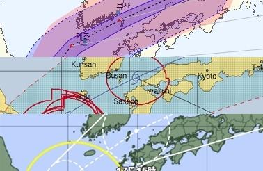 14호 태풍 찬투 예상 경로. 위 기상청, 중간 미국 합동태풍경보센터(JTWC, Joint Typhoon Warning Center), 아래 일본기상청