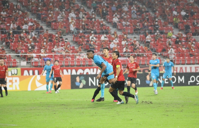 대구FC 에드가가 14일 일본 아이치현 도요타시 도요타 스타디움에서 원정 경기로 치른 2021 AFC 챔피언스리그(ACL) 16강에서 헤딩 골을 넣고 있다. 대구FC 제공.