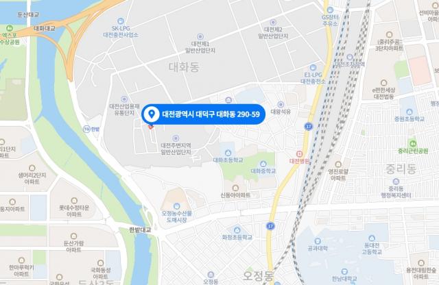15일 오후 화재가 발생한 대전시 대덕구 대화동 290-59번지. 네이버 지도