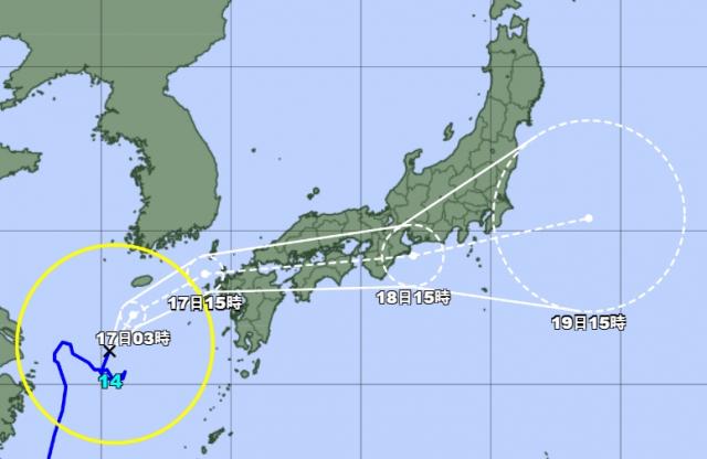일본기상청 16일 오후 3시 발표 기준 태풍 찬투 예상 경로