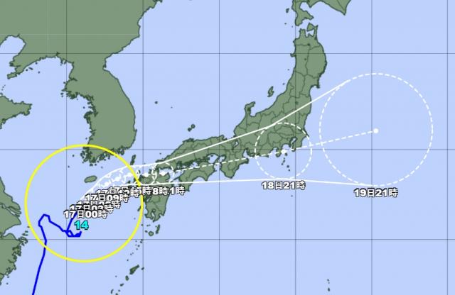 일본기상청 16일 오후 10시 발표 기준 태풍 찬투 예상 경로