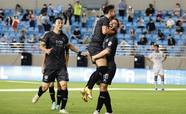 세징야가 18일 DGB대구은행파크에서 열린 하나원큐 K리그1 2021 30라운드 울산현대와 경기에서 후반전에 역전골을 넣고 기뻐하고 있다. 대구FC제공