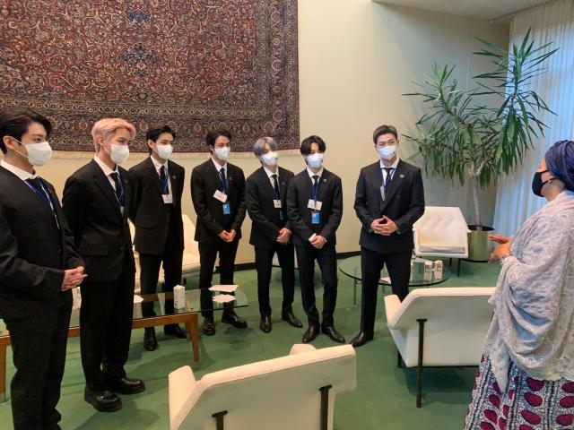 방탄소년단(BTS)과의 만남을 소개한 아미나 모하메드 UN 사무부총장 트위터