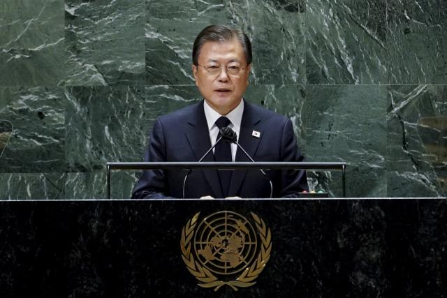 문재인 대통령이 21일(현지시각) 미국 뉴욕 유엔 총회장에서 기조연설을 하고 있다. 연합뉴스