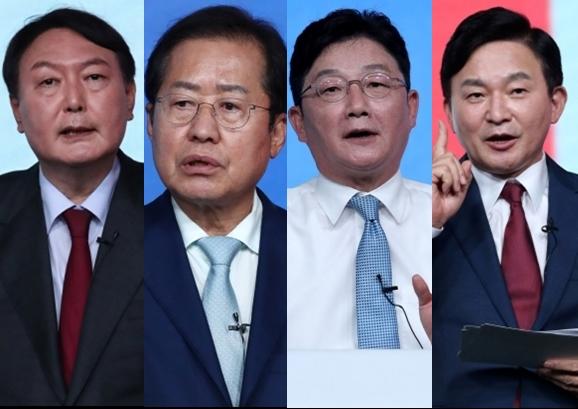 국민의힘 2차 컷오프를 통과한 4인. 왼쪽부터 윤석열, 홍준표, 유승민, 원희룡. 연합뉴스