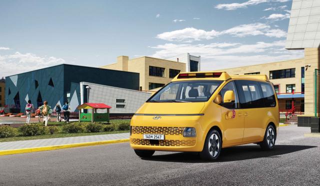 현대자동차가 어린이 전용 통학차량 스타리아 '킨더(Kinder)'를 출시했다고 7일 밝혔다. 사진은 스타리아 킨더. 현대자동차 제공