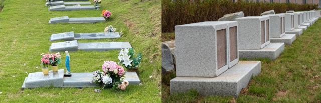대구가톨릭대 'DCU 공로자 묘역'에 조성될 매장묘(왼쪽)와 납골묘의 예시 이미지. 대구가톨릭대 제공