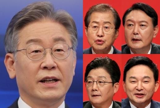 (왼쪽)이재명, (오른쪽)홍준표, 윤석열, 유승민, 원희룡. 연합뉴스